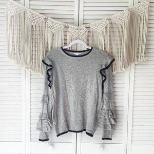 THML Gray Ruffle Tiered Sleeve Knit Sweater XS